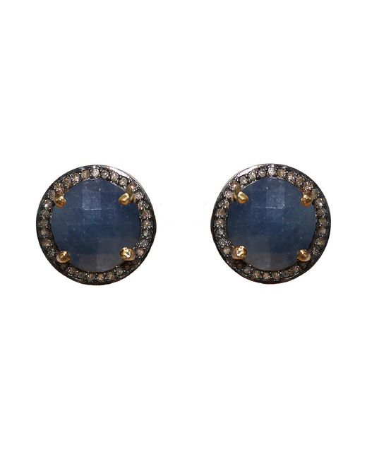 Adornia   Blue Sapphire And Champagne Diamond Echo Stud Earrings   Lyst