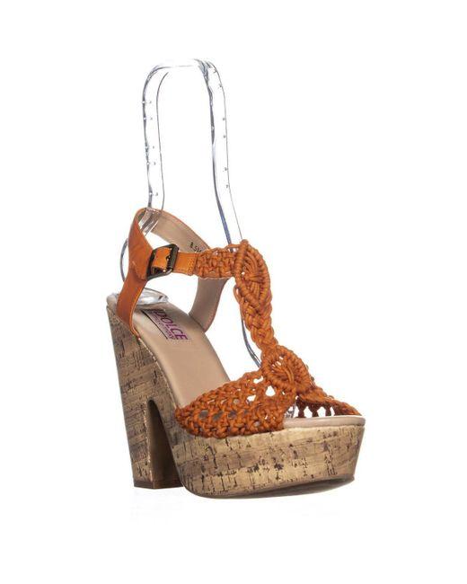 Mojo Moxy - Brown Dolce By Jude Woven T-strap Platform Sandals, Orange - Lyst