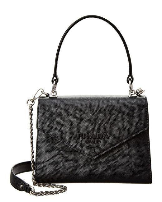 2601163ff254 Lyst - Prada Monochrome Saffiano Leather Satchel in Black