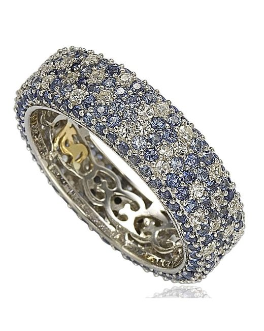 Suzy Levian | Metallic Sterling Silver 5 1/3ct Tgw Sapphire And Diamond Accent Eternity Pave Ring | Lyst