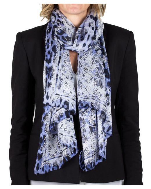 Roberto Cavalli   Blue Women's Lace Floral Animal Print Silk Scarf Large   Lyst