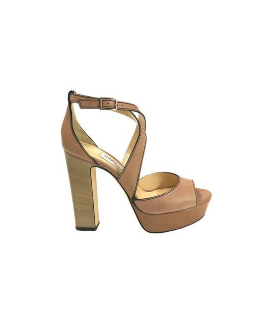 Jimmy Choo - Brown Women's April120 Beige Leather Sandals - Lyst