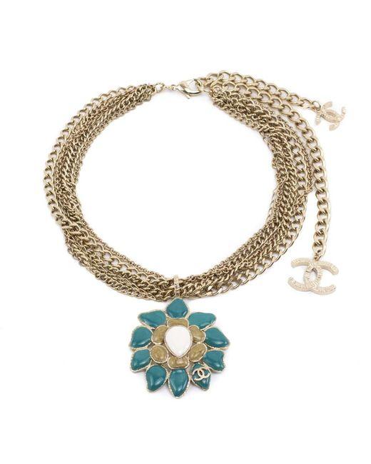 Chanel | Blue Vintage 1970s Multi-chain Pendant Necklace | Lyst