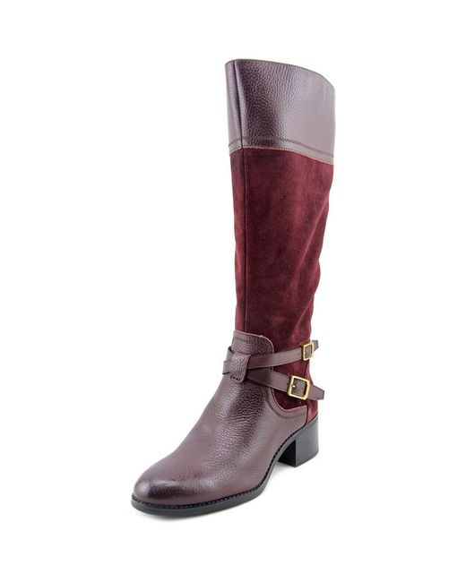 Franco Sarto | Brown Lapis Wide-Calf Leather Knee-High Boots | Lyst