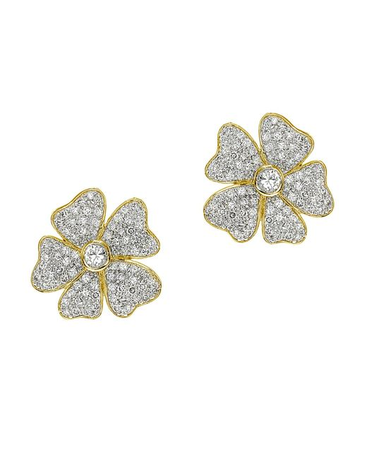 CZ by Kenneth Jay Lane | Metallic 6cttw Round/pave Cz Floral Ears | Lyst