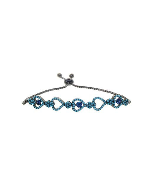 Barzel - 18k Black Rhodium Plated Sterling Silver Turquoise Multi Heart Friendship Bolo Adjustable Bracelet - Lyst