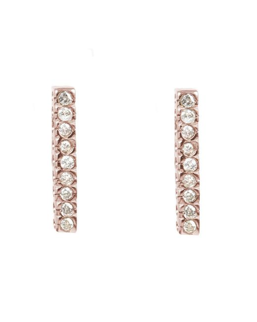 Adornia | Pink Diamond And Rose Gold Vermeil Barra Bar Stud Earrings | Lyst