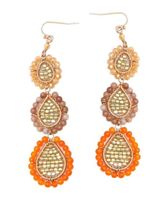 Nakamol   Three Tier Earrings-orange   Lyst