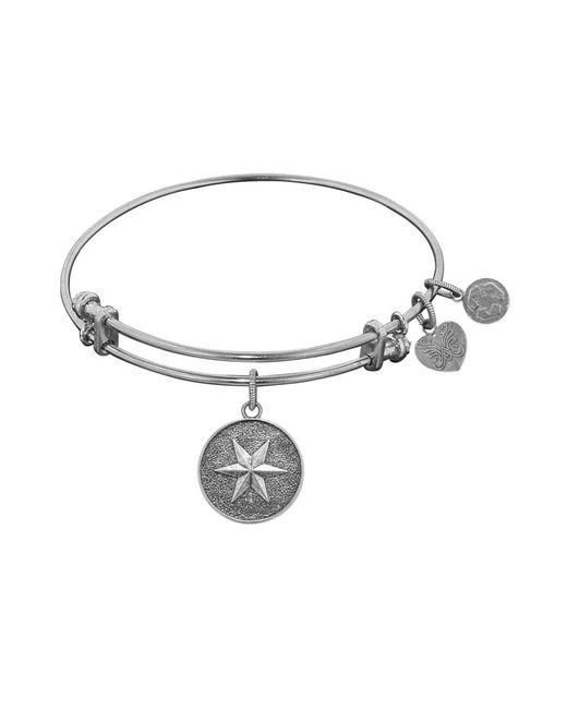 Angelica - White Stipple Finish Brass Hope Bangle Bracelet, 7.25 - Lyst