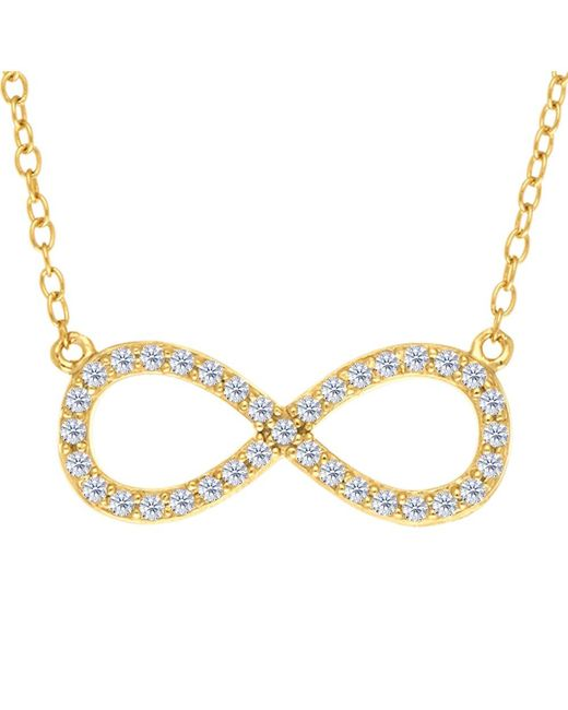 JewelryAffairs   White Infinity Sign Link And Cz Necklace In Yellow Color Finish Sterling Silver, 18   Lyst