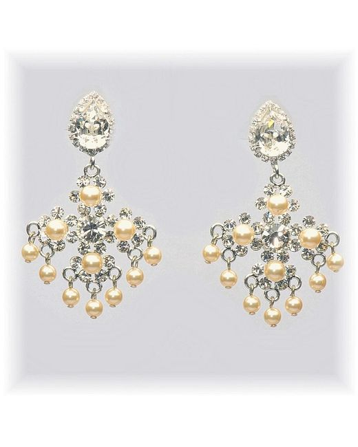 Otazu | Metallic Swarovski Crystal And Pearl Chandelier Earring | Lyst