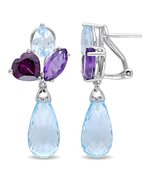 Julianna B - Blue Topaz - Sky Rhodolite-garnet Amethyst-africa Ear Pin Earrings - Lyst