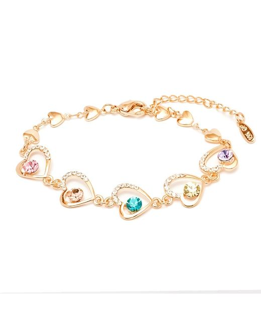 Peermont   Metallic Gold And Swarovski Elements Heart Link Bracelet   Lyst