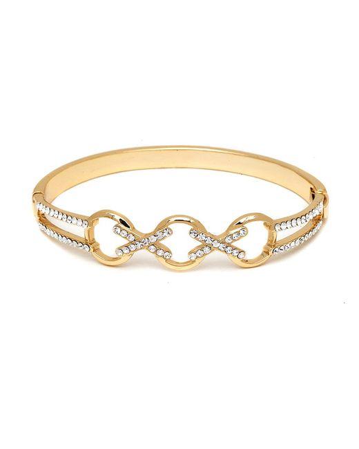 Peermont | Metallic Gold And Swarovski Elements Crisscross Triple Ring Bangle | Lyst