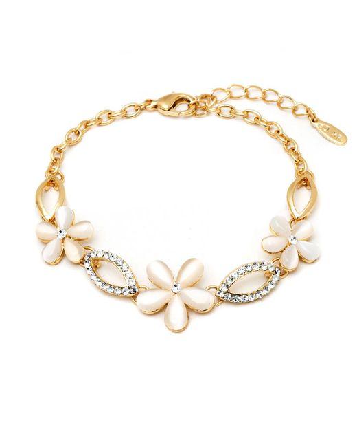 Peermont   Metallic Gold And Crystal Elements Flower Link Bracelet   Lyst