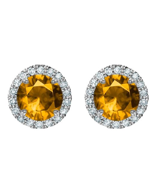 Tia Collections   Orange 5mm Gemstone And Diamond Halo Earrings   Lyst