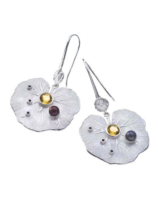 Jewelista - White Sterling Silver & Gemstone Lily Drop Earrings - Lyst