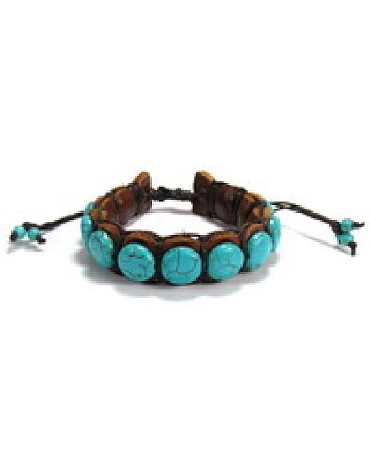 Aeravida | Blue Round Stones Leather Pull Slide Bracelet | Lyst