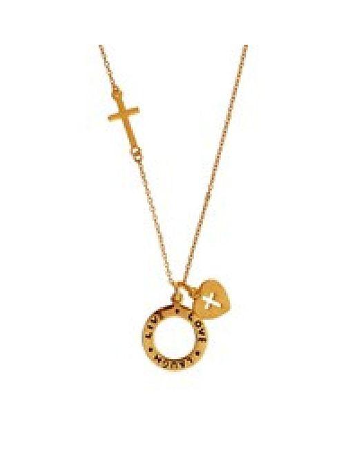 Aeravida   Metallic Laugh Live Love' Heart Cross Necklace   Lyst
