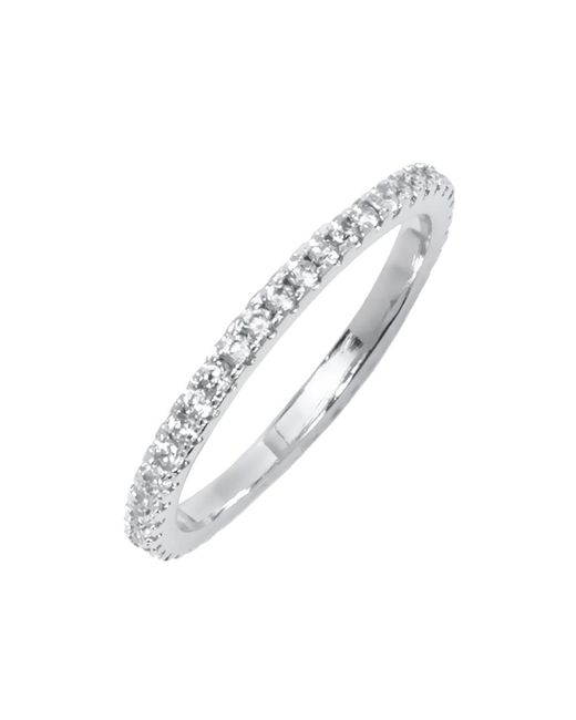 Peermont | Metallic White Gold & Round-cut Cz Single Row Eternity Ring | Lyst