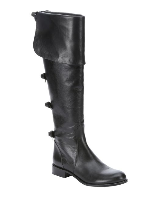 valentino black leather side zip bow detail knee high