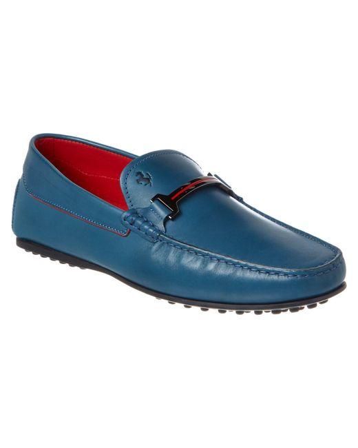 Tod's | Blue For Ferrari Gommino City Leather Loafer for Men | Lyst