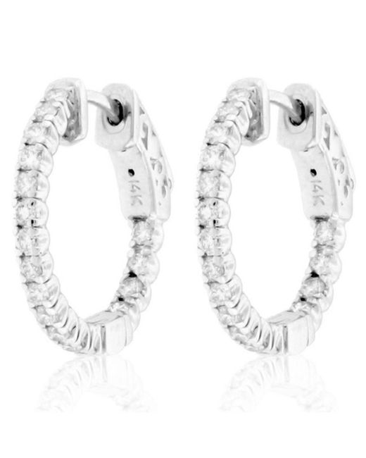 Suzy Levian | 14k White Gold 3/4 Ct Tdw Diamond Inside-out Hoop Earrings | Lyst