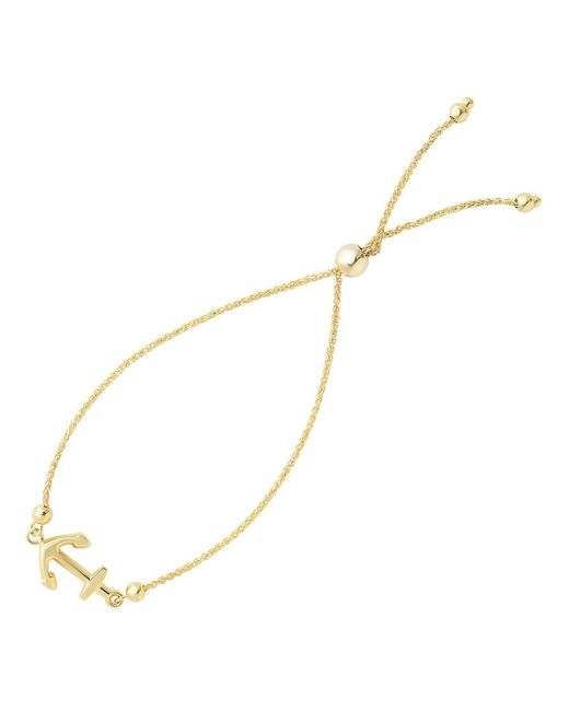 JewelryAffairs | Shiny Sideways Anchor Center Bolo Friendship Bracelet In 14k Yellow Gold, 9.25 | Lyst