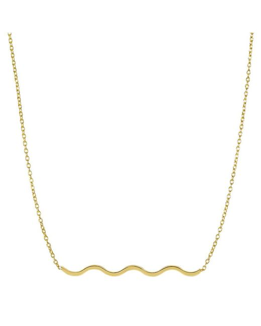 """JewelryAffairs - 14k Yellow Gold Round Tube S Style Wave Element Pendant On 18"""" Necklace - Lyst"""