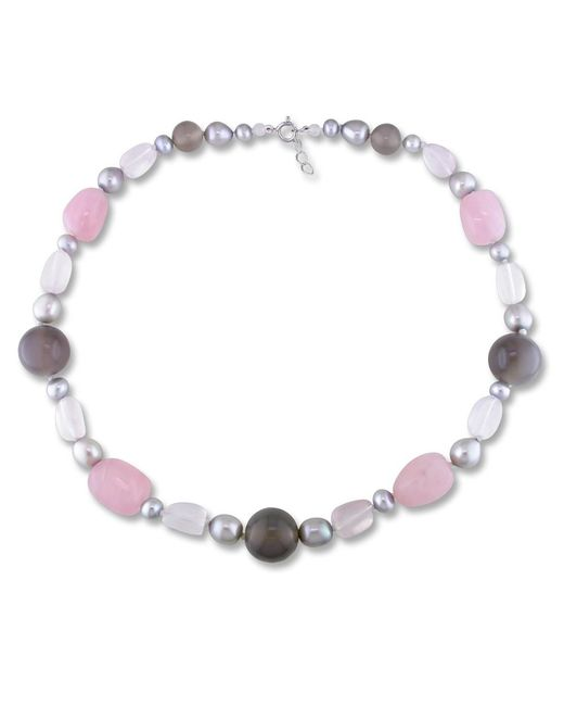 Catherine Malandrino - Multicolor Freshwater Cultured Pearl And Gems Bead Necklace - Lyst
