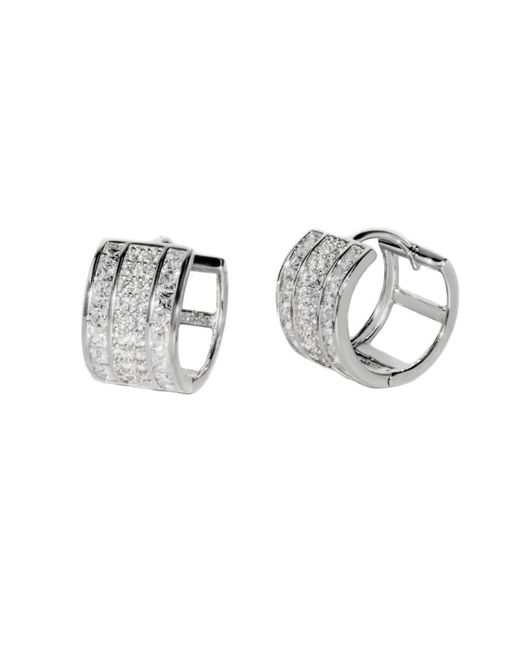 Barzel - 18k White Gold Plated Sterligg Silver Rdm Plated Huggies Earring - Lyst