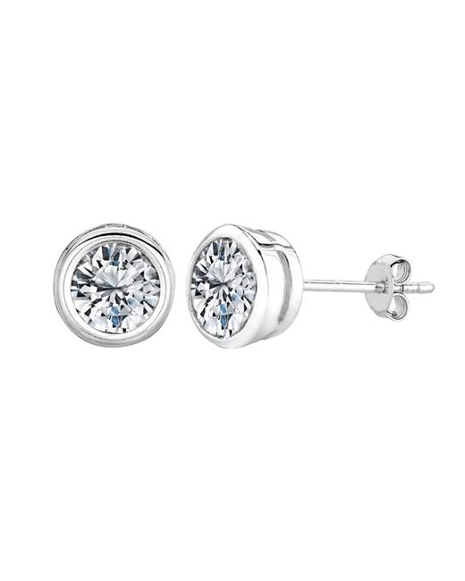 JewelryAffairs | White Sterling Silver Rhodium Finish Round Bezel Set Cubic Zirconia Stud Earring | Lyst