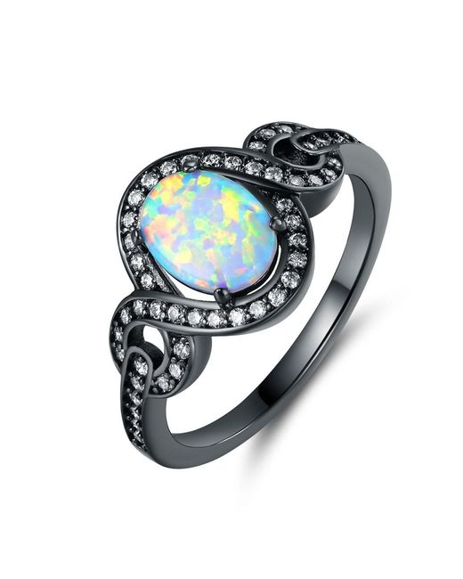 Peermont | Metallic Black Rhodium Plated Fire Opal Oval Statement Ring | Lyst