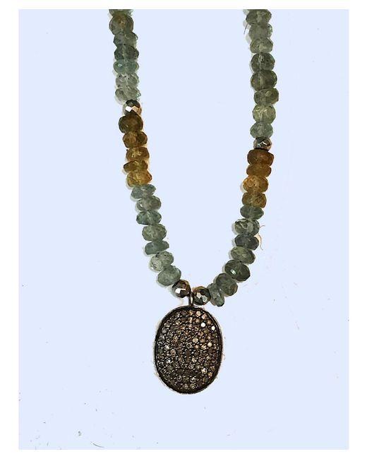 Blue Candy Jewelry   Green Mossy Aquamarine Diamond Necklace   Lyst