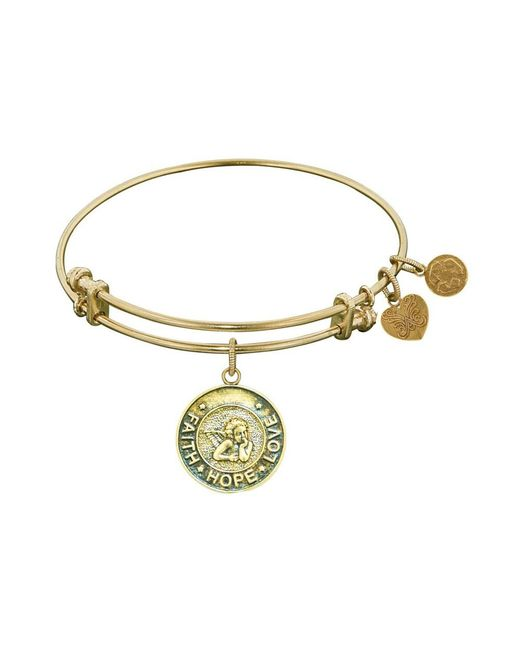 Angelica - Yellow Stipple Finish Brass Angel, Faith, Hope, Love Bangle Bracelet, 7.25 - Lyst