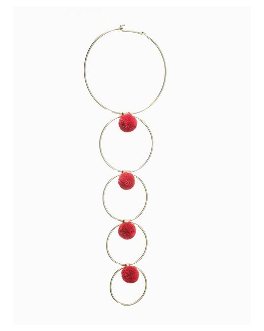 Viviane Guenoun Accessories | Multi Circular Gold Plated Brass Pompoms Necklace - Red | Lyst