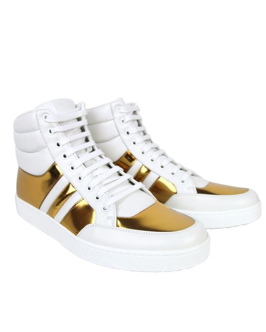 00e1301a1e5 ... Gucci - White High Top Contrast Padded Leather Sneaker 368494 for Men -  Lyst ...
