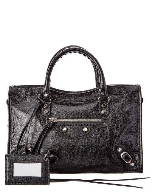 Balenciaga   Black Classic Metallic Edge Mini City Leather Tote   Lyst
