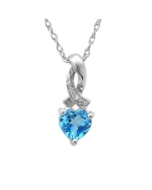 Amanda Rose Collection   Heart Shape Swis-blue Topaz And Diamond Pendant In Sterling Silver (1ctt Tgw)   Lyst