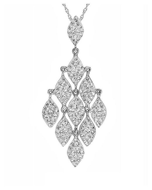 Amanda Rose Collection | Metallic Sterling Silver Chandelier Pendant Necklace Made With Swarovski Crystals | Lyst