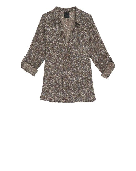 Bobeau | Gray Maisie Paisley Hidden Placket Blouse | Lyst