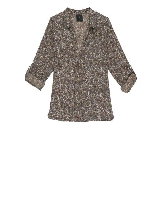 Bobeau | Gray V-neck Printed Blouse | Lyst