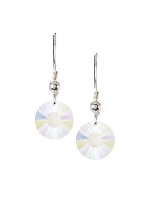Barzel - Metallic Sterling Silver Ab Crystal Round Sun Drop Earrings Made Wswrovski Elements - Lyst