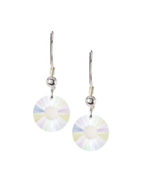 Barzel | Metallic Sterling Silver Ab Crystal Round Sun Drop Earrings Made Wswrovski Elements | Lyst