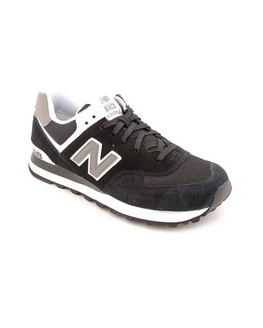 New Balance | M574 Men Round Toe Suede Black Fashion Sneakers for Men | Lyst