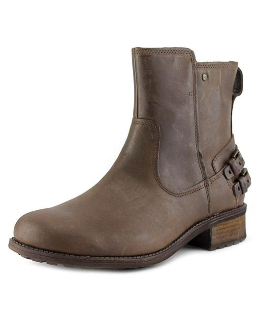 Ugg | Brown Orion Women Round Toe Leather Ankle Boot | Lyst