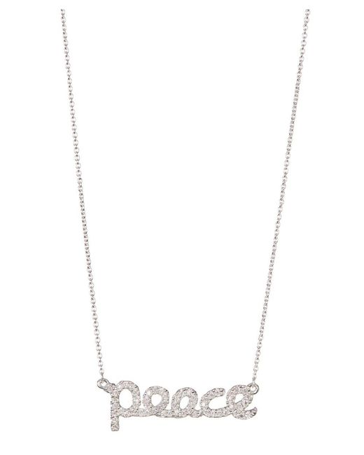 Adornia   Metallic Sterling Silver And Swarovski Crystal Cursive Peace Necklace   Lyst
