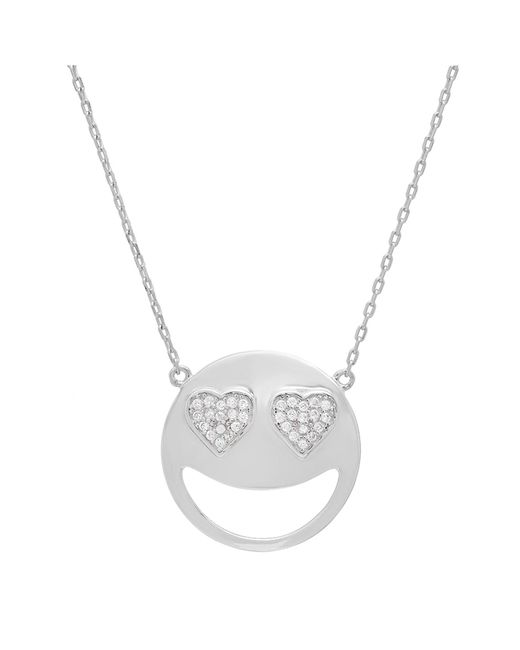Amanda Rose Collection | Metallic Cubic Zirconia Heart Eyes Emoji Pendant-necklace In Sterling Silver On An 18 Inch Chain | Lyst