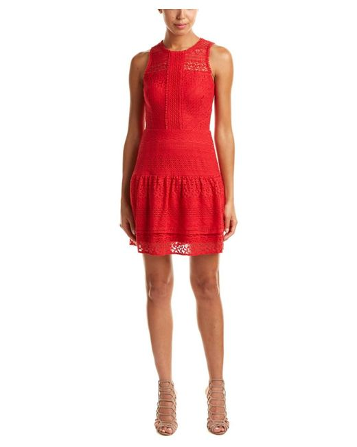 Parker | Red Eyelet Lace Combo A-line Dress | Lyst