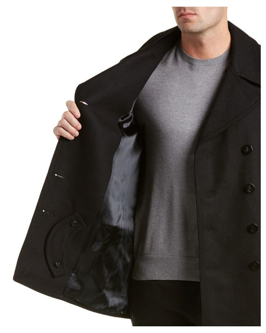 Gloverall Churchill Reefer Wool-blend Peacoat in Black for ...